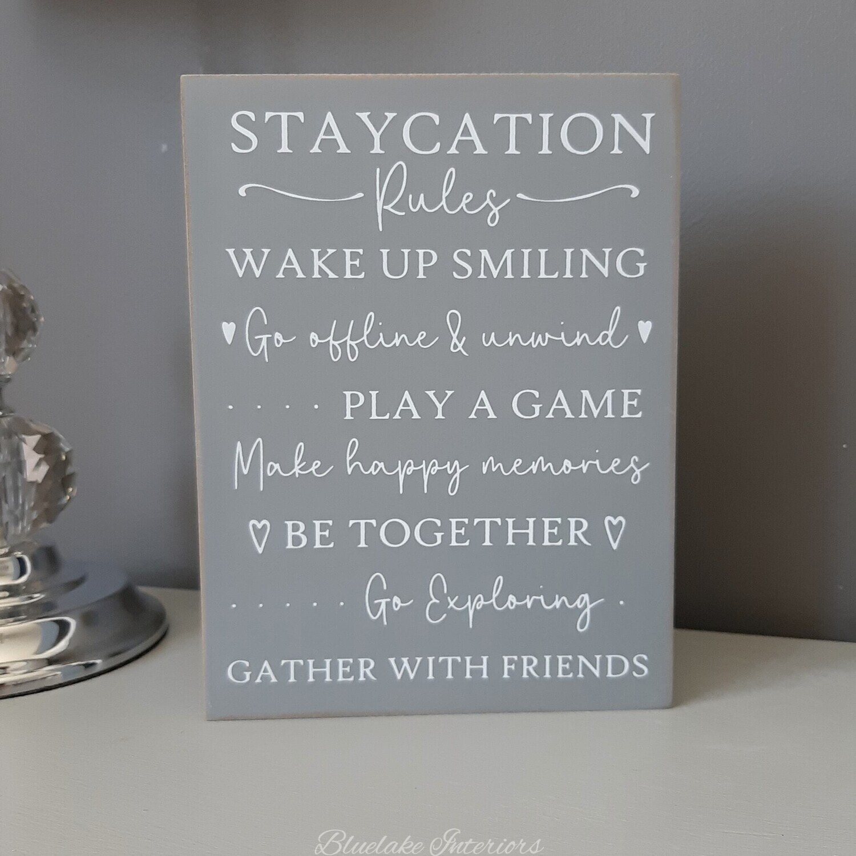 Staycation Rules Freestanding Grey Block Plaque Make Happy Memories
