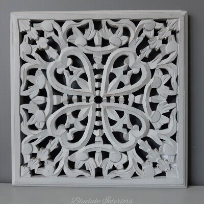 Ornate Carved Grey Wooden Wall Panel