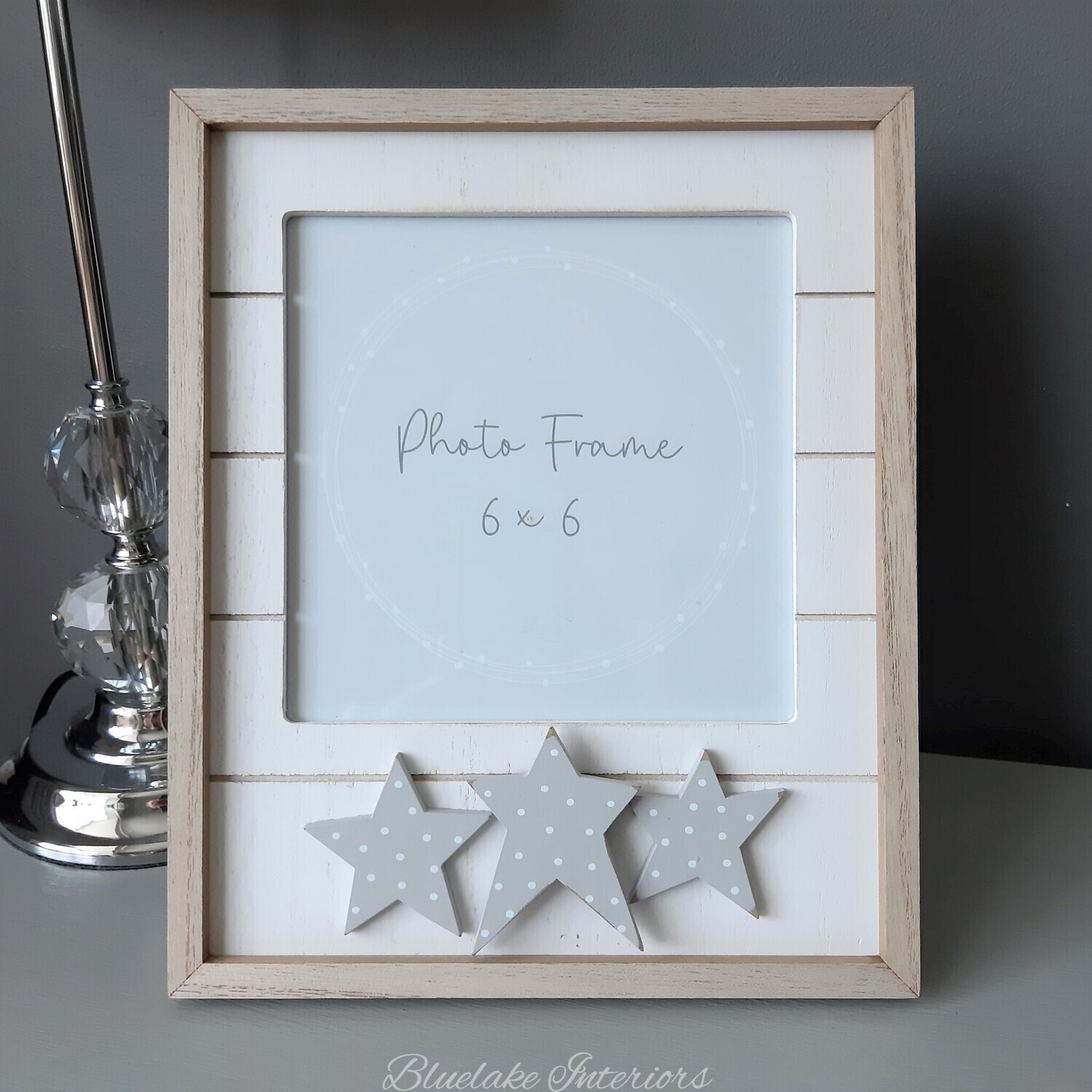 Cream Wooden Slatted Photo Frame Featuring 3 Wooden Stars