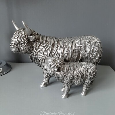 Reflections Silver Highland Cow & Calf Ornament Gift Boxed Figurine Large