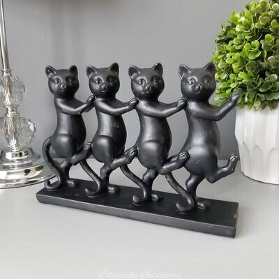 Four Dancing Black Cats Ornament Gift Idea