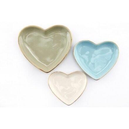 Set Of 3 Heart Shaped Jewellery Trinket Dishes