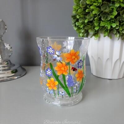 Pretty Crackle Glass Hurricane Tea Light Holder With Spring Flowers