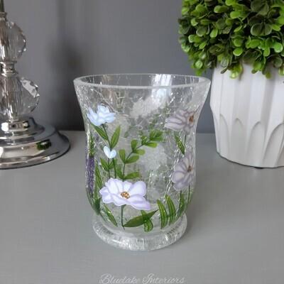 Pretty Crackle Glass Hurricane Tea Light Holder With Blue Toned Flowers