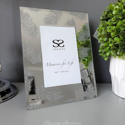 """Beautiful Silver Feather Mirror Glass Photo Frame 4x6"""""""