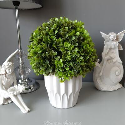 Artificial Green Topiary Ball In A White Ceramic Pot