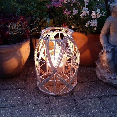 Large Natural Woven & Metal Candle Lantern
