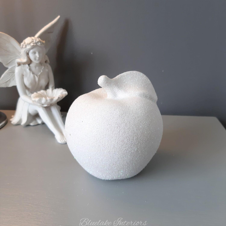 White Lustre Glittery Apple Ornament