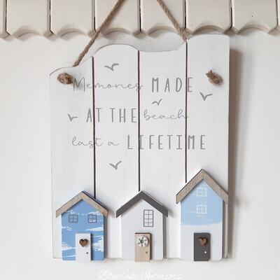 Memories Made At The Beach Nautical Hanging Slatted Beach Hut Sign