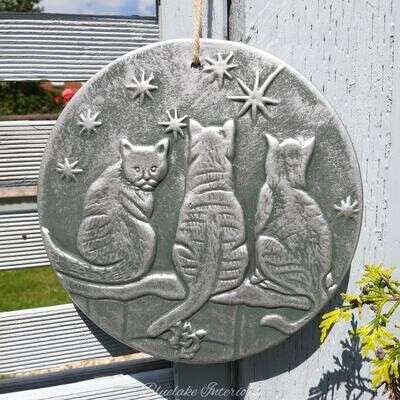 Silver Effect Wish Upon A Star Cats Plaque By Lisa Parker