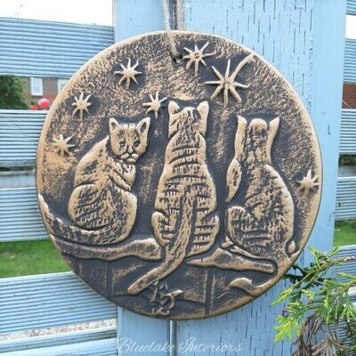 Bronze Effect Wish Upon A Star Cats Plaque By Lisa Parker