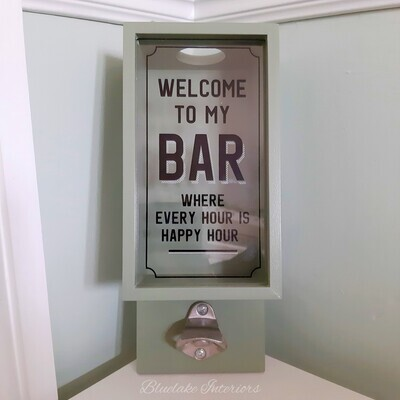 Green Welcome To My Bar Wall Mounted Beer Bottle Top Opener