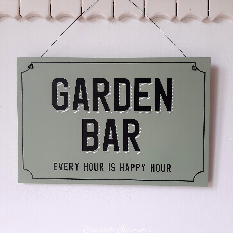 Green Garden Bar Hanging Wall Plaque Ever Hour Is Happy Hour