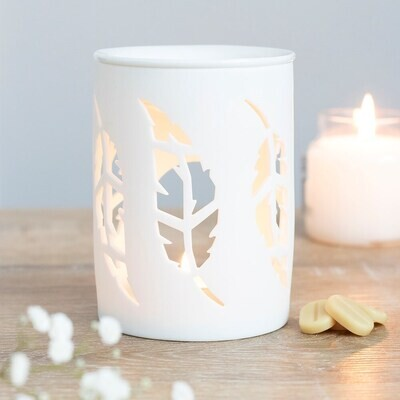White Ceramic Cut Out Feather Design Wax Melt & Oil Burner Gift Boxed