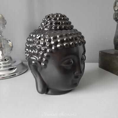 Black Ceramic Buddha Head Oil Wax Melt Candle Burner Home Fragrance