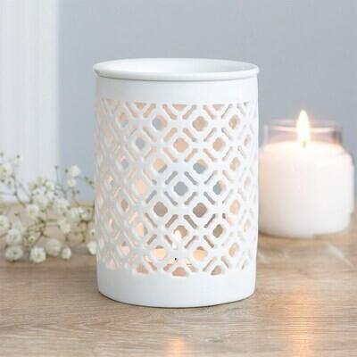 White Ceramic Cut Out Lattice Design Wax Melt & Oil Burner Gift Boxed