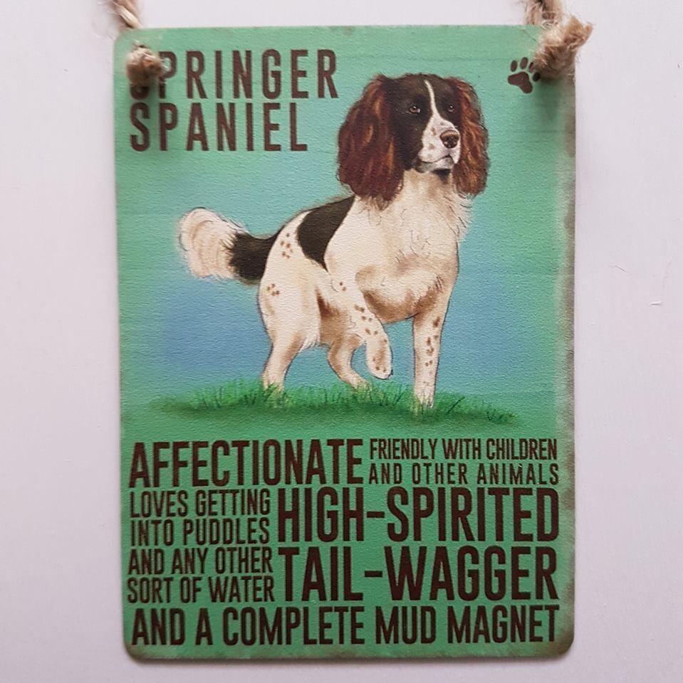 Springer Spaniel Mini Metal Hanging Dog Sign Pet Lovers Wall Decoration