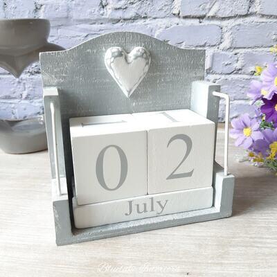 Grey Wooden Perpetual Block Heart Calendar