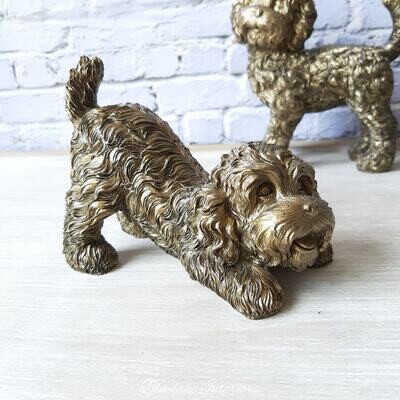 Cute Playing Cockapoo Ornament  With A Bronzed Finish Large