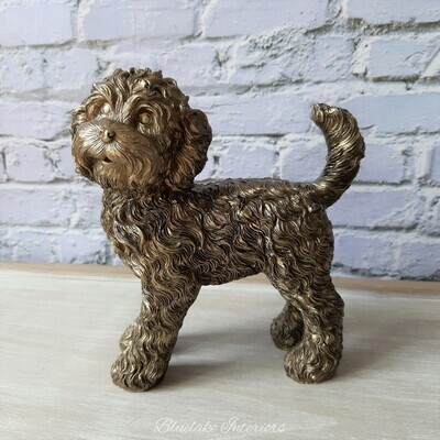 Standing Cockapoo Ornament With A Bronzed Finish Large