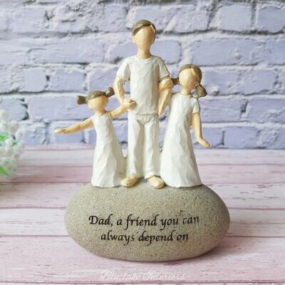 Dad A Friend You Can Always Depend On Pebble Art Sentiment Stone Ornament