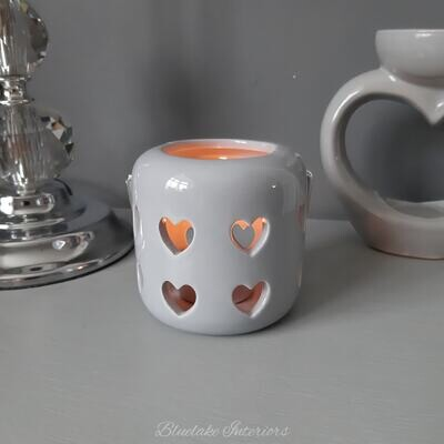 Small Desire Grey Cut Out Hearts Ceramic Tea Light Candle Holder With Handle