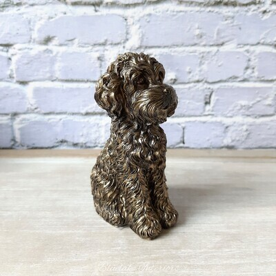 Sitting Down Cockapoo Ornament With A Bronzed Finish Small