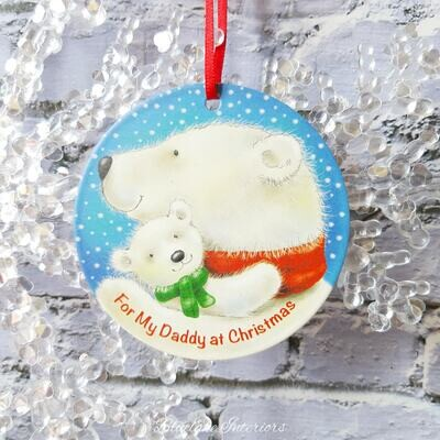 For My Daddy At Christmas Cute Polar Bear Metal Bauble Hanging Sign