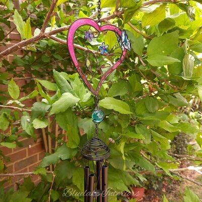Red Heart & Butterfly Garden Wind Chime