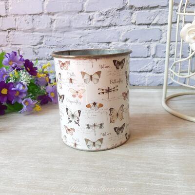 Pretty Zinc Small Storage Pot With Butterflies & Dragonflies