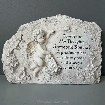 Cherub With Flower Basket Someone Special Stone Effect Graveside Memorial