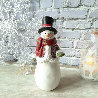 Cheery Snowman Figure In Winter Coat & Top Hat Christmas Ornament