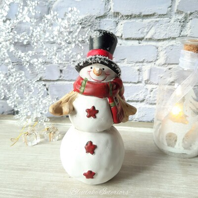 Cheery Snowman Figure In A Top Hat Christmas Ornament