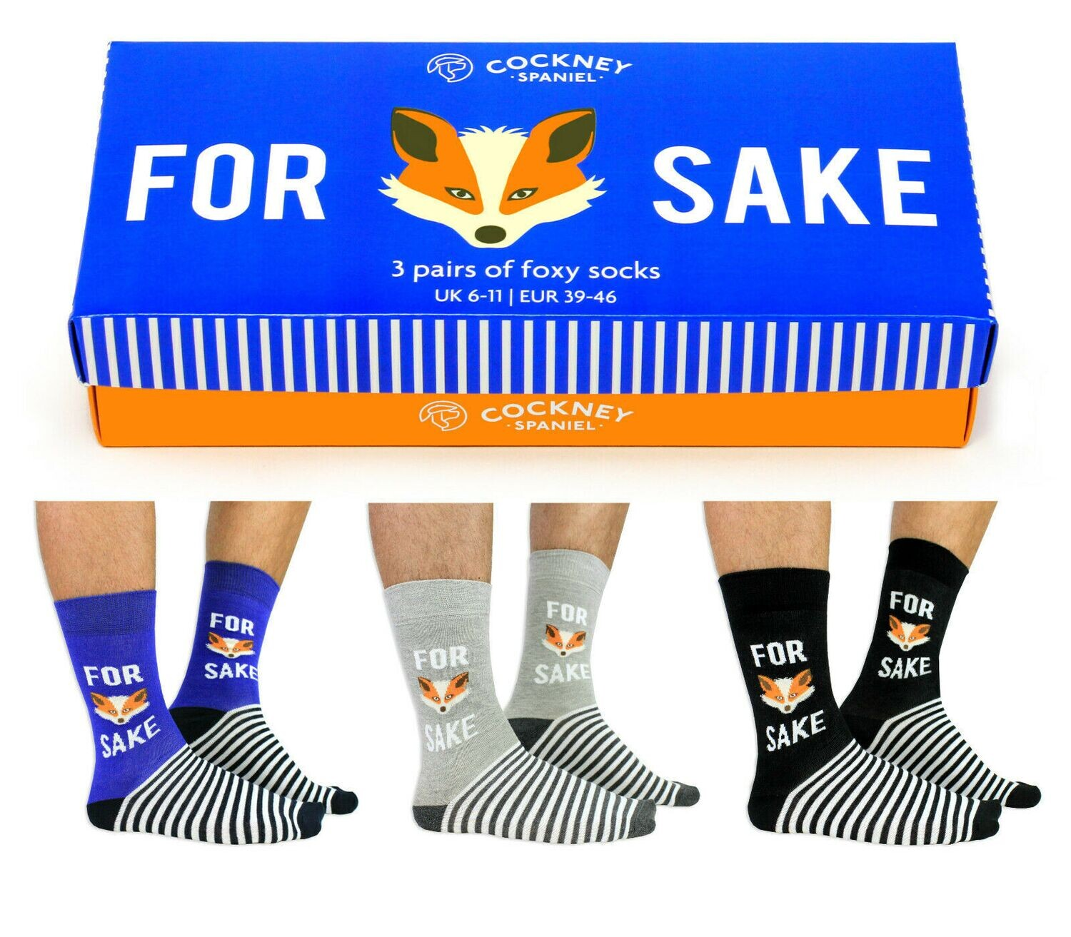 For Fox Sake 3 Pairs Of Mens Foxy Socks Gift Boxed by Cockney Spaniel 6-11