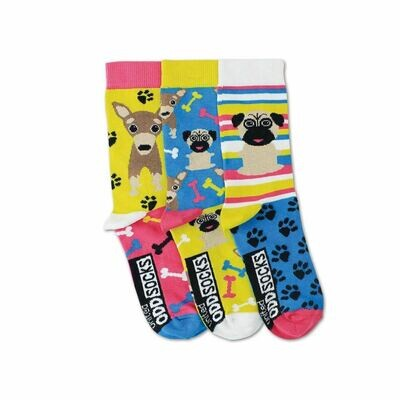 United Oddsocks Pug Dog Design Set of 3 Girls Odd Socks 12-5.5