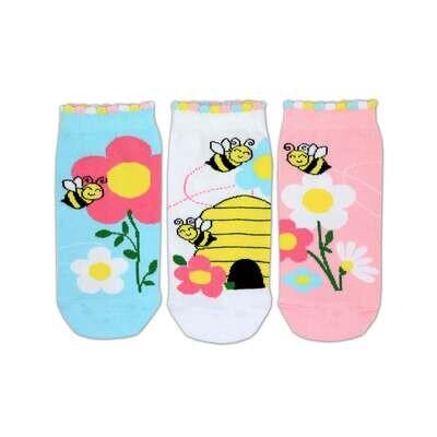 United Oddsocks Girls Bee Design Set of 3 Trainer Liner Odd Socks 12-5.5