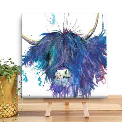 Blue Splatter Highland Cow Mini Canvas From Wraptious