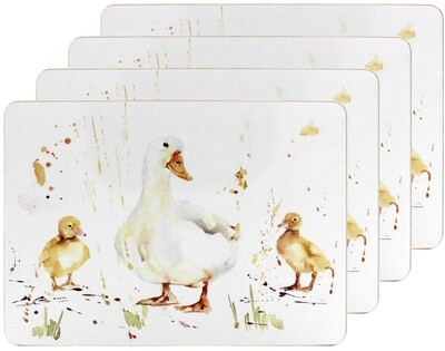 Set of 4 The Country Life Duck Design Placemats Water Coloured Inspired Print