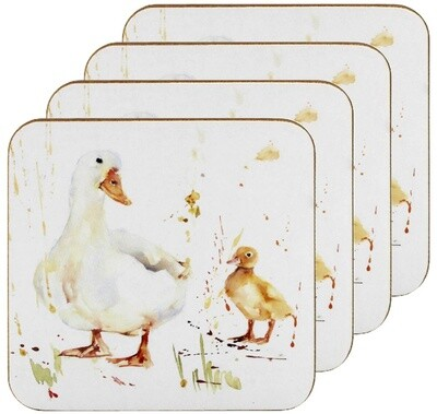 Set of 4 The Country Life Duck Design Coasters Water Coloured Inspired Print