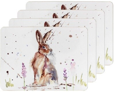Set of 4 The Country Life Hare Design Placemats Water Coloured Inspired Print