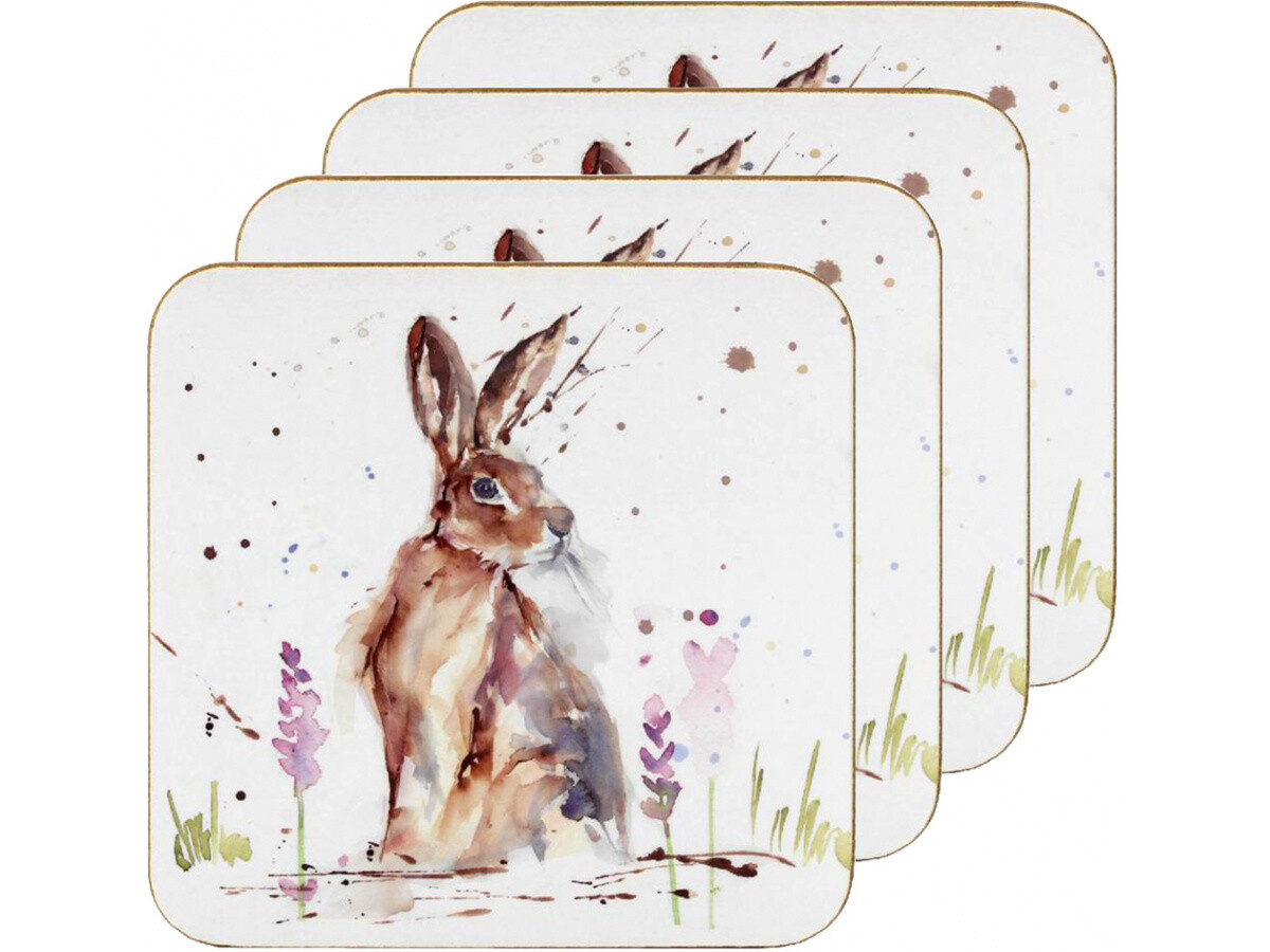Set of 4 The Country Life Hare Design Coasters Water Coloured Inspired Print