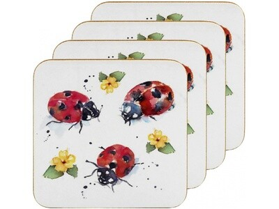 Set of 4 The Country Life Ladybirds Design Coasters Water Coloured Inspired Print