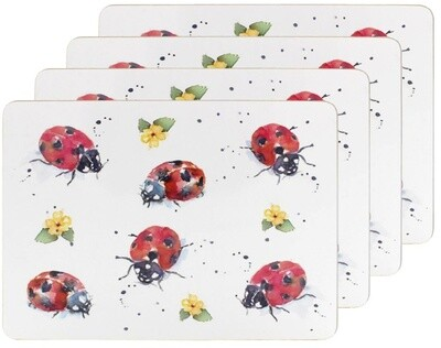 Set of 4 The Country Life Ladybirds Design Placemats Water Coloured Inspired Print