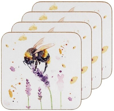 Set of 4 The Country Life Bees Design Coasters Water Coloured Inspired Print