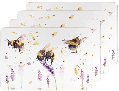 Set of 4 The Country Life Bees Design Placemats Water Coloured Inspired Print