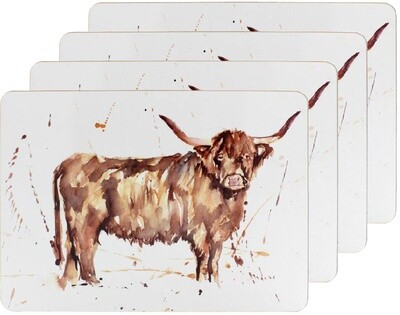 Set of 4 The Country Life Highland Cow Design Placemats Water Coloured Inspired Print