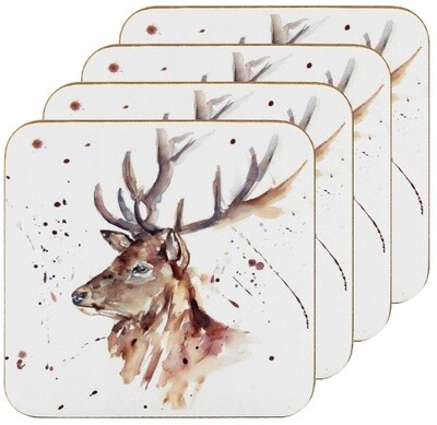 Set of 4 The Country Life Stag Design Coasters Water Coloured Inspired Print