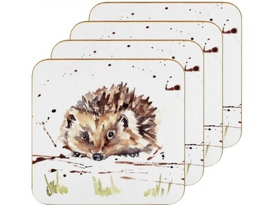 Set of 4 The Country Life Hedgehog Design Coasters Water Coloured Inspired Print