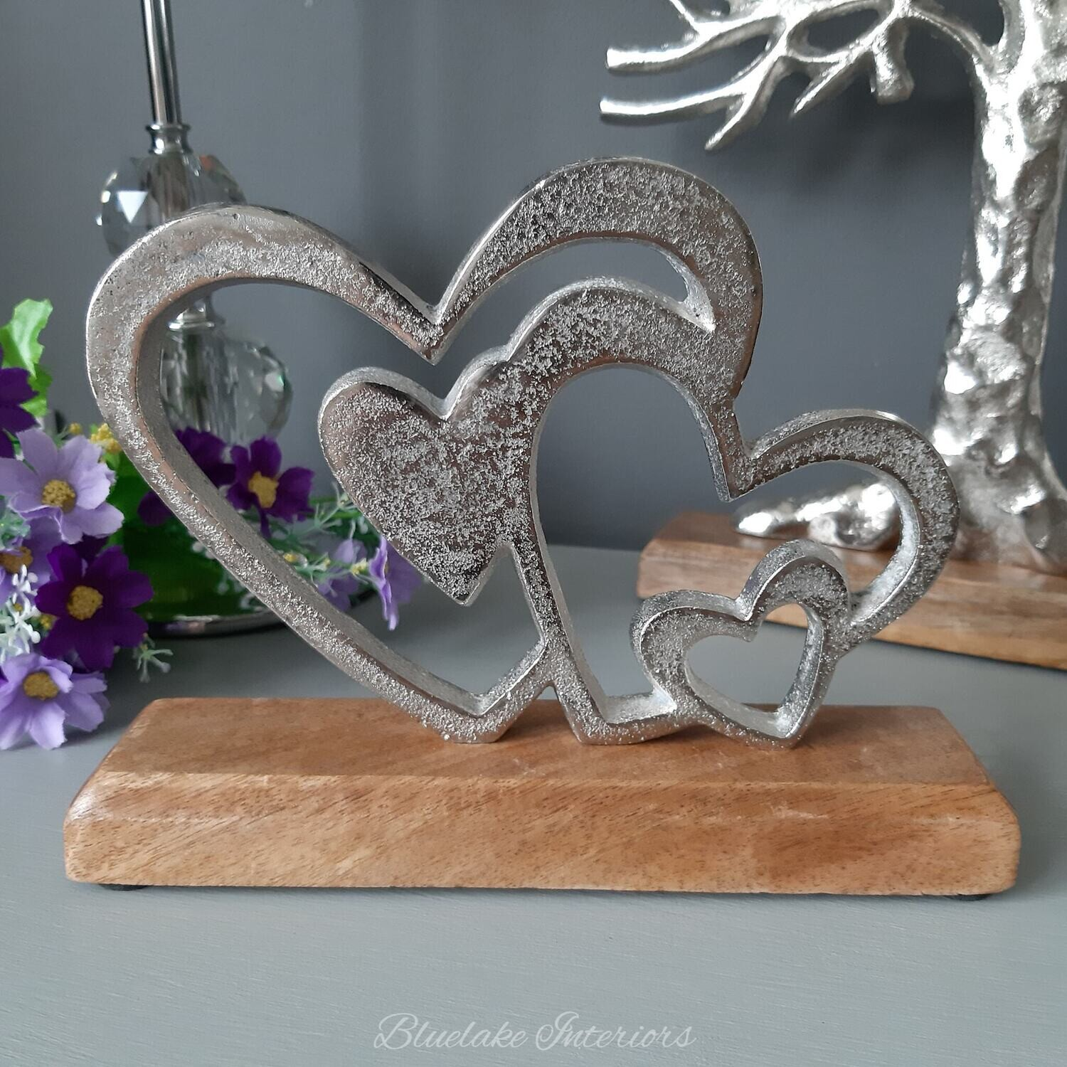 Silver Triple Entwined Love Heart Plaque on a Wooden Base