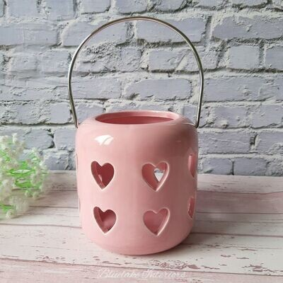 Medium Desire Pink Cut Out Hearts Ceramic Tea Light Candle Holder With Handle